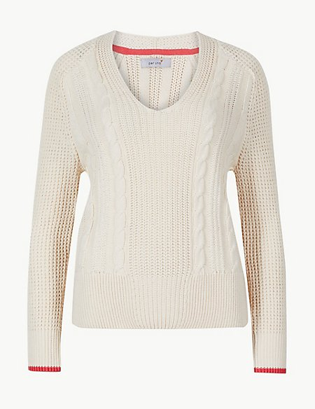 Pure Cotton Textured V-Neck Jumper