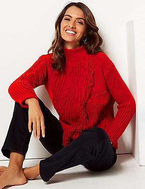 Fringe Cable Knit Funnel Neck Jumper