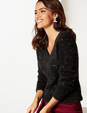 Sequin V-Neck Jumper