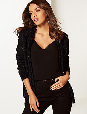 Sequin Open Front Cardigan, BLACK MIX, catlanding