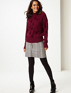 Pom Pom Turtle Neck Jumper , DARK BURGUNDY, catlanding