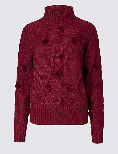 Pom Pom Turtle Neck Jumper