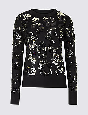 Animal Print Sequined Jumper