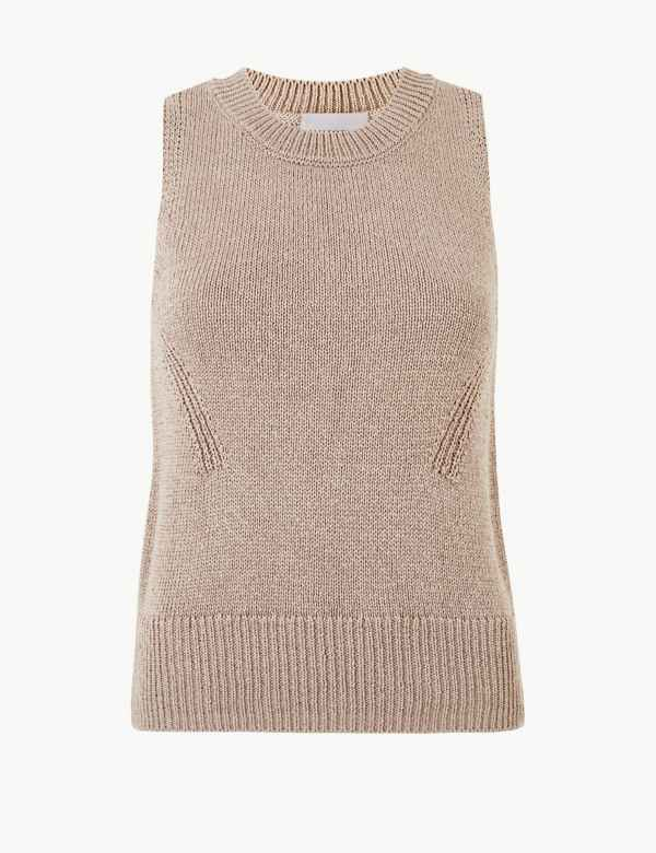 6f82ea51411b07 Textured Round Neck Sleeveless Jumper