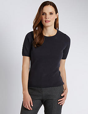 Ribbed Round Neck Short Sleeve Jumper