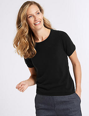 Ribbed Round Neck Short Sleeve Jumper, BLACK, catlanding