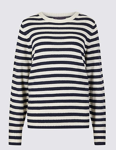 Lambswool Rich Striped Round Neck Jumper