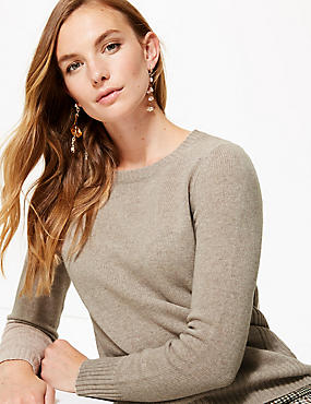 Lambswool Rich Textured Round Neck Jumper , MOLE, catlanding