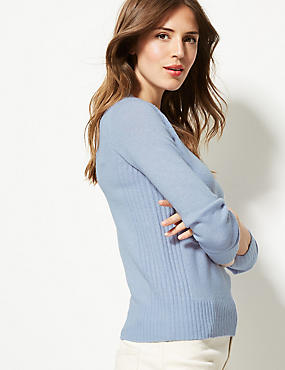 Lambswool Rich Textured Round Neck Jumper , CORNFLOWER, catlanding