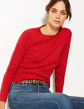 Lambswool Rich Textured Round Neck Jumper , CHILLI, catlanding