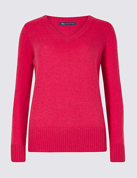 Lambswool Rich Textured V-Neck Jumper