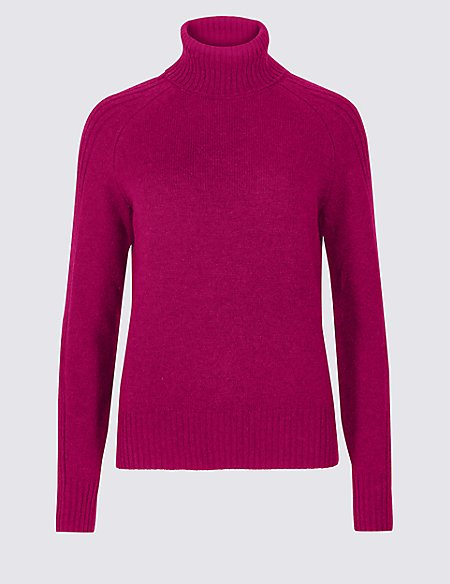 Lambswool Rich Textured Roll Neck Jumper