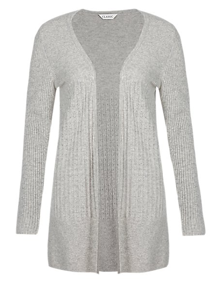 Pure Cashmere Pointelle Ribbed Long Cardigan