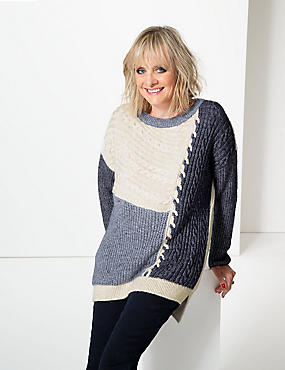 Cotton Rich Colour Block Slash Neck Jumper , NAVY MIX, catlanding
