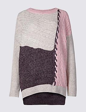 Cotton Rich Colour Block Slash Neck Jumper , MULTI, catlanding
