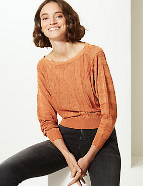 Textured Slash Neck Jumper