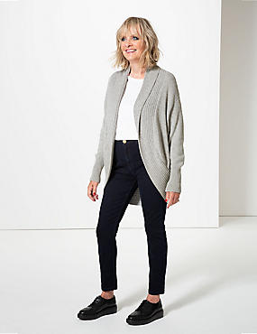 Textured Open Front Cardigan , GREY, catlanding