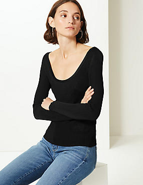 Textured Scoop Neck Jumper, BLACK, catlanding