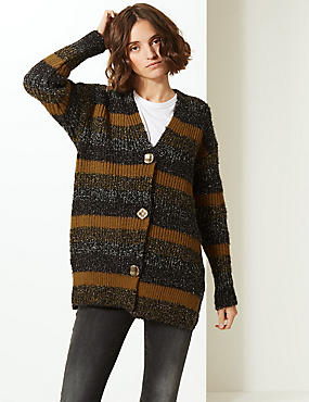 Textured V-Neck Cardigan, MULTI, catlanding