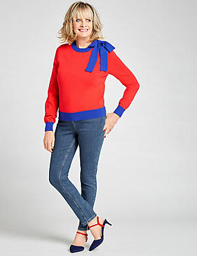 Pure Cotton Bow Detail Stripe Jumper, TOMATO, catlanding