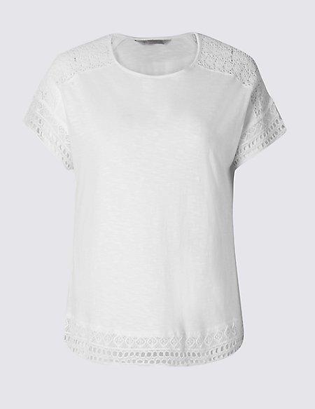 PLUS Lace Sleeve T-Shirt