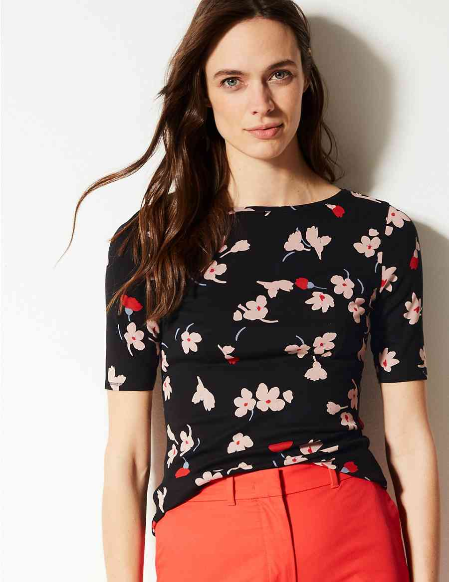 8bd6a2cdd1f6 Pure Cotton Floral Print Regular Fit T-shirt