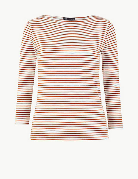 Cotton Rich Striped Fitted T-Shirt