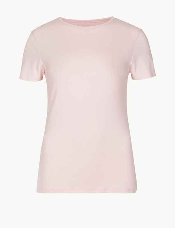 3d8d89df57434 Cotton Rich Round Neck Fitted T-Shirt. M S Collection