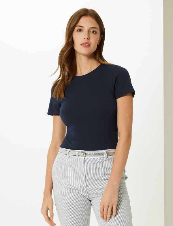 96aedbc978343 Cotton Rich Round Neck Fitted T-Shirt