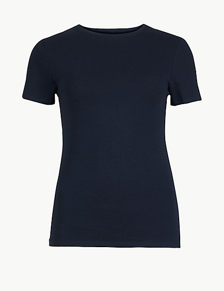 Cotton Rich Round Neck Fitted T-Shirt