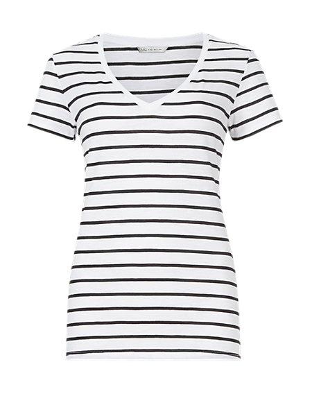 Pure Cotton Striped Slub T-Shirt