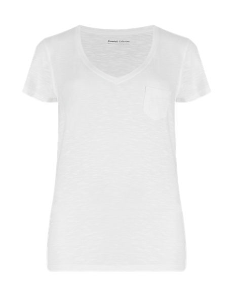 Cotton Blend V-Neck Short Sleeve T-Shirt