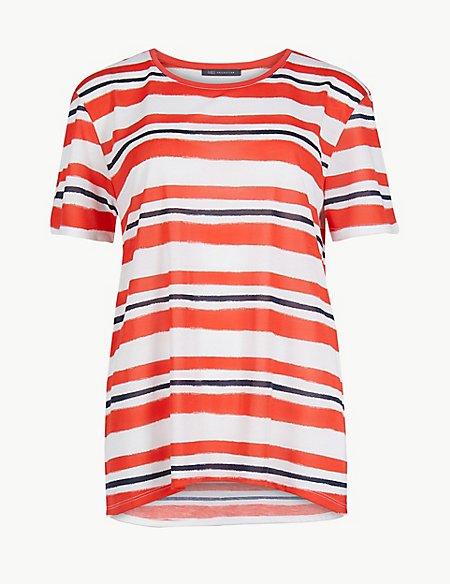 Striped Round Neck Short Sleeve T-Shirt