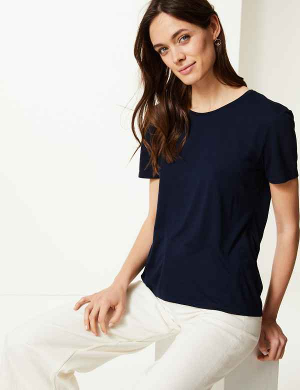 5da8e4ef97c Round Neck Short Sleeve Relaxed Fit T-Shirt