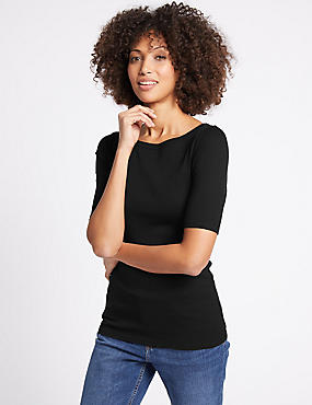 Pure Cotton Slash Neck Half Sleeve T-Shirt
