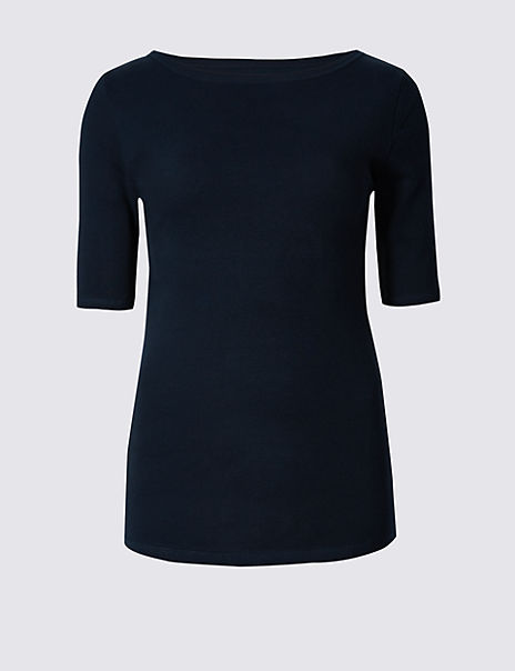 Pure Cotton Slash Neck Half Sleeve T-Shirt