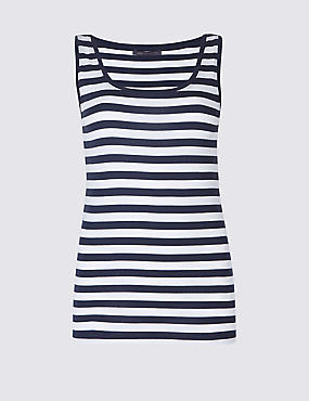 Pure Cotton Striped Round Neck Vest Top