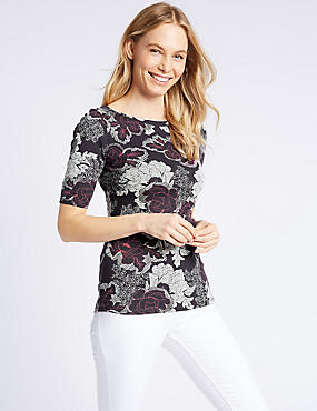 Pure Cotton Floral Print Half Sleeve T-Shirt