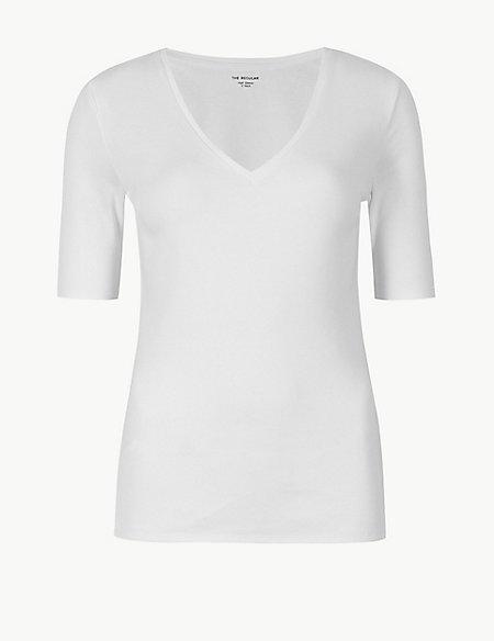 Pure Cotton V-Neck Short Sleeve T-Shirt