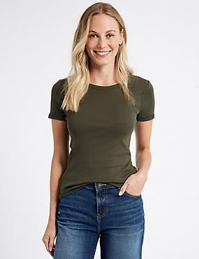 Pure Cotton Rib Crew Neck T-Shirt
