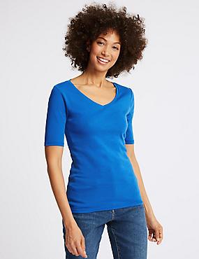 Pure Cotton V-Neck Half Sleeve T-Shirt
