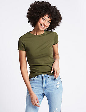Stretch Round Neck Short Sleeve T-Shirt, KHAKI, catlanding