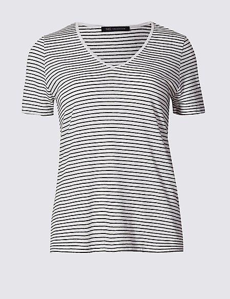 Linen Blend Striped Short Sleeve T-Shirt