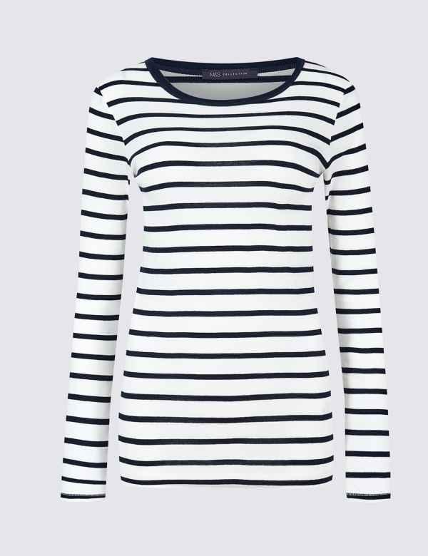 83123cc418391 Pure Cotton Striped Regular Fit T-Shirt. M S Collection