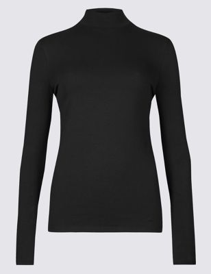 c99942648735 Funnel Neck Long Sleeve Fitted T-Shirt