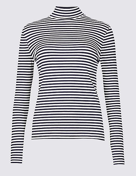 Cotton Rich Striped Long Sleeve T-Shirt