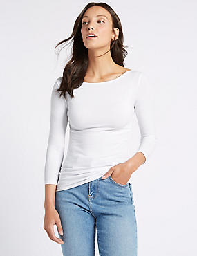 Cotton Stretch Slash Neck 3/4 Sleeve T-Shirt