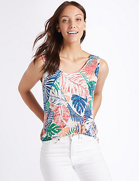 Palm Print Round Neck Vest Top