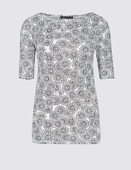 Pure Cotton Floral Print T-Shirt
