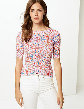 Pure Cotton Tile Print Half Sleeve T-Shirt